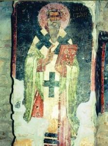 Свт. Иоанн Милостивый  роспись ц. ап. Петра  в Расе  Сербия XIII в.